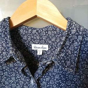 Steven Alan Indigo Dyed Floral Cotton Button Up